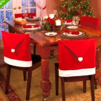 Wholesale Xmas Santa Clause Hat Chair Back Covers Cover Christmas Dinner Decorations NewYear Party Supply Favor Cheap