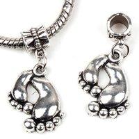 Big feet - New X18mm Tibetan Silver Foot Foot Dangle European Big Hole Beads Fit European Pandora Charms Bracelet mm