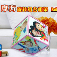acrylic photo cube frame - Creative Cube rotating cube photo frame multifunction rotary combination of high end studio photo frame Children Photo Frame