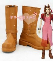 aerith cosplay - Final Fantasy VII FF7 Aerith Cosplay Shoes Halloween Khaki Short Boots Custom Cosplay Shoes Anime