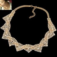 Wholesale 2015Fashion Korean Metal Crystal Geometric Gold And Silver Choker Short Necklace Jewelry For Women