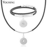 Wholesale Leather Bracelet Necklace Set - VOCHENG NOOSA 5 Colors Leather Pendant Necklace Bracelet Set Fit 18mm Button NN-379