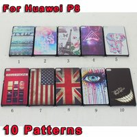 uk flag - For Huawei P8 Telephone Mustache Dream Ring Teeth UK USA Flag Tiger Elephant Eiffel Tower hard PC Plastic Case We all mad here Skin cover