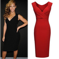 Wholesale Women Party Club Dress European And American Sexy Slim Bodycon Dress Ladies Red Black Bandage Dresses Plus Size Vestidos