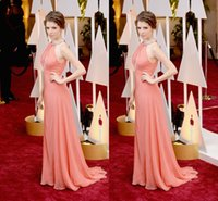 anna kendrick - 88th Oscar Red Carpet Dresses Anna Kendrick Wear Jewel A Line Floor Length Chiffon Modest Fashion Coral Prom Party Evening Gowns