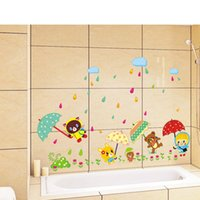 Wholesale Kids Room Wall Stickers Decorative Stickers Cartoon Animal Taking Umbrella PVC Bathroom Glass Stickers
