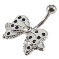 aqua dots set - Vivi1pcs Black Dot White Bowknot Crystal Navel Belly Button Barbell Ring Body Piercing Free Drop Shipping