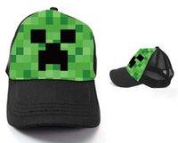 Wholesale 10pcs Minecraft Creeper Mesh Caps Cartoon Trucker Caps Lorry Caps Men Adjustbale Hats colors Cheap z TT39250589652
