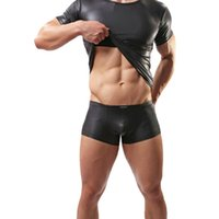bar personal - Creative Men s Leather Jacket Underwear Personal Bar Stage Performance Clothing Leather Sexy T shirt Show Muscles