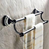 bath towel rod - Oil Rubbed Bronze Double Bathroom Towel Bar Wall Mounted Ceramic Style Bath Towel Rod