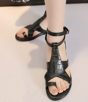 pvc sandals - New arrival Style fashion hot sale Specials female princess noble leather influx sweety Roman buckle toe flat sandals EU34