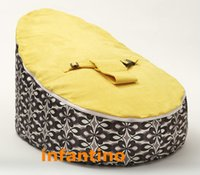 Wholesale Black with yellow top seat custom baby bean bag bed