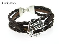 anchor fittings - Cork shop manual men black leather cord bracelet bracelet anchor fittings collocation