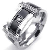 al por mayor encantos miao-Mens Cubic Zirconia anillo encanto elegante boda banda de acero inoxidable negro plata Estados Unidos tamaño 7 a 13 envío de la gota