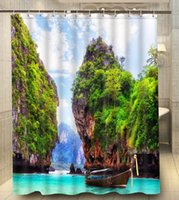 bath vacation - Hot Sales Polyester Thailand vacation Boat Mountains x180cm Moden Classical Custom Bath Shower Curtain bathroom Waterproof