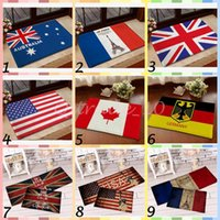 Wholesale 20pcs LJJC3433 cm High Quality Australia USA UK Germany Canada Flag Doormat Vintage Bedroom Carpet France Flag Mats Cartoon Door Rug