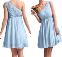 Wholesale One Shoulder Short Bridesmaid Dress Sky Blue Pleats with Sash Empire Chiffon Mini Junior Girls Wedding Party Wears