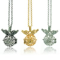 bell charm - 2015 Fashion Pendants Necklace Baby Charms Color Bells Angel Fly Wing Necklace For Women Jewelry