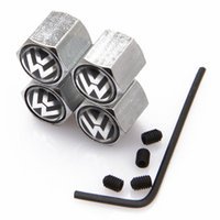 Wholesale Lockable Black VW Anti Theft Dust Cap Tire valve Caps With Car Logo Badges Emblems Black VW With Retail Box YX