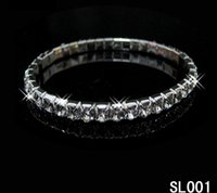 Wholesale Party Diamond Crystal Rhines Elastic Bracelet Full Of Bride Wedding Jewelry Silver Bracelet Scalable Shiny Diamond Row Chain