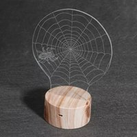 aa web - 3D Optical Illusion Spider Web Night Lamps Colorful LEDs Ultra thin Acrylic Light Panel AA Battery or DC V Factory