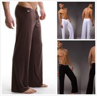 Wholesale 2014 Black Gray Black White Men Sexy Silky Lounge Loose fitting Baggy Sporting Yoga Pants Pyjama Men Pajamas Sleepwear Trousers