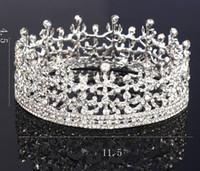Cheap NEW Royal Silver Shining rhinestone Baroque Wedding Crowns Bridal Veil Tiara Crown Headband Hair Tiara crowns 11.5*4.5CM HH05