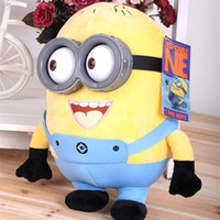 Wholesale 2015 Cheap Creative Minions D eyes plastic eyes yellow doll plush toys for kids best gift