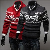 Wholesale New Fashion Mens Sweater Clothes Casual V Neck Snowflake Jacquard Design
