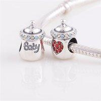 Crystal Necklace YZ629 Baby Charm Swarovski Crystal Silver Jewelry Feeding-bottle Charm fit European Bracelets Free Shipping No. 90 YZ629