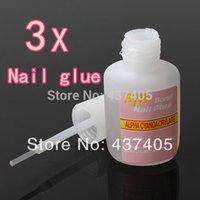 Wholesale 3pcs Bottles New Professional French Style g Acrylic UV Gel Glitter Tool False Nail Art Glue With Brush
