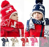 Wholesale Hot SALE Winter Sweet Girls Boys Hats Children s Hat Deer Velvet Earlap Caps Babies Sets Christmas Beanie