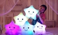 Wholesale Luminous pillow Christmas Toys Led Light Pillow plush Pillow Hot Colorful Stars kids Toys Birthday Gift