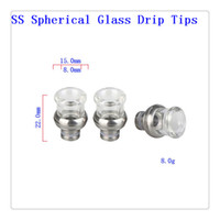 Wholesale Stainless steel spherical Glass Drip Tips Drip Tips Wide Bore Drip Tips fit RTA RBA RDA Atomizers