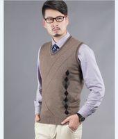 argyle cashmere sweater - Newest autumn fashion argyle pattern men v neck cashmere sweater vest