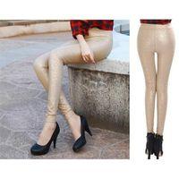 leather pants leggings - 2015 Autumn New Rose Pattern Leggings Natt Leather Pants Tight Stretch Women Pantyhose Feet