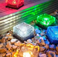 Wholesale Solar Brick Ice Cube Path Lights Crystal Garden Lamp LED Underground lamp Solar Ground Light Holiday decor Light