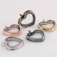 Cheap Fashion statement necklaces pendant Lockets heart shape CZ Crystal Floating Charm Glass Living Memory Locket Pendant cheap jewelry ZB079