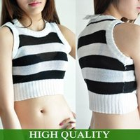 Wholesale 2014 Fashion New Women Clothing Sweater Black White Striped O Neck Sleeveless Super Short Women Pullover Vest Crop Top Sweater
