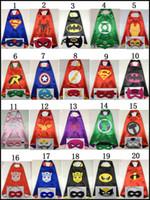 Wholesale 2015 super hero cape mask L70 W70CM Double Side superhero superman batman spiderman wonderwoman capes masks set J060307 DHL
