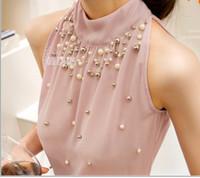 Wholesale New Women Beading Chiffon Blouse Korean Fashion Sleeveless Women Turtleneck Chiffon Blouse Shirt Women Top S M L XL835I