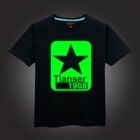 cotton night shirt - 2015 Top sale boy t shirt children cotton summer wear kid s hip hop Neon Print t shirt Party Club Night light punk t shirt C124