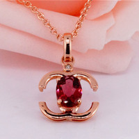 natural diamond - Personalized Pendants for Necklace Double C Design in K Rose Gold inlaid Tourmaline and Natural Diamond Elegant Pendant