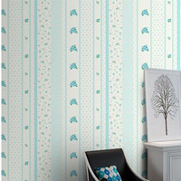 Wholesale Eco friendly pvc waterproof wallpaper roll Flowery Stripe children s pink blue orange floral Wallpaper kids wall paper bedroom