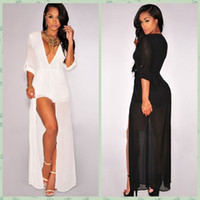 Wholesale Black Deep V Neck Long Sleeve Maxi Romper Jumpsuit Chiffon Sheer Wide Leg Long Split Bodysuit Sexy Party Club Wear Bodycon Jumpsuit