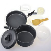 Wholesale Modern Outdoor Camping kitchen Cookware Backpacking Cooking Picnic Bowl Spoon Pots Pan Cover Set Jul08
