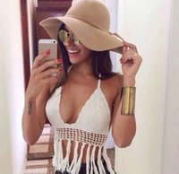 Wholesale 2015 Mesh Crop Top Cut Out High Neck Brazilian Bikinis For Women Sexy Seafolly Hollow Out Padded Beachwear Sport Biquini Swimwear
