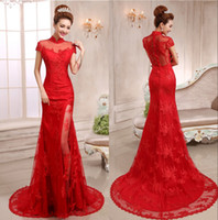 custom made cheongsam - Elegant red lace Cheongsam with short sleeves Applique high neck court train see through Chinese dresses women mermaid evening gowns