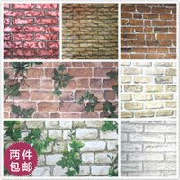Wholesale 10M PVC self adhesive waterproof wallpaper thickened retro brick pattern