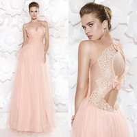 Cheap 2015 Stunning Tarik Ediz Evening Dress Pink Sweetheart Sheer Illusion Floor Length Bows Lace Hollow Back Prom Dress EM03686